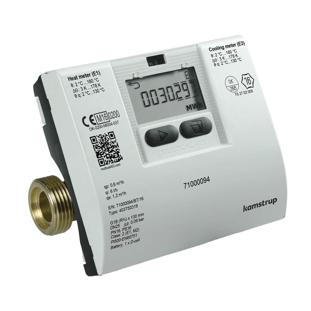 """Portable Gas Detection >> 1"""" BSP Kamstrup Multical 403 Cooling Meter, qp 3.5 